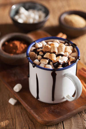 Photo for s'mores hot chocolate mini marshmallows cinnamon winter drink - Royalty Free Image