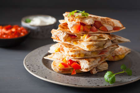 Photo for mexican quesadilla with chicken tomato corn cheese - Royalty Free Image
