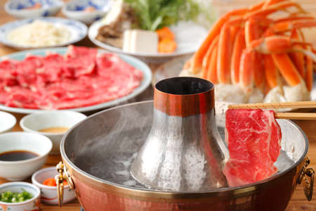 Photo for Hot pot of fresh beef and crab in Thai style - Royalty Free Image