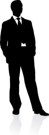 Business man in suit and tie silhouette. illustration