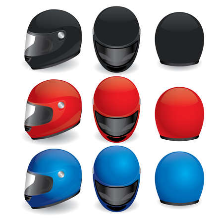 illustration of motorcycle helmet. Black, red and blue set