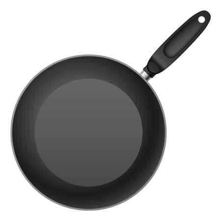 Black Teflon coated shallow frying pan. Illustration on white background