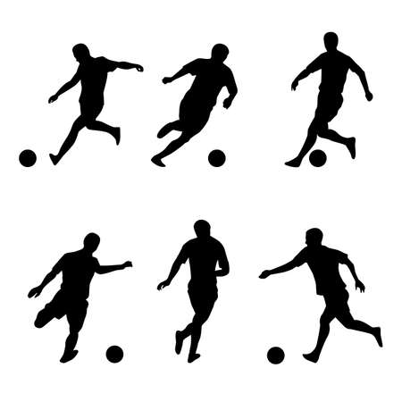 Soccer, football players silhouettes. Illustration on white background