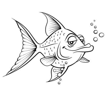 Cartoon fish. Black and white illustration on white background