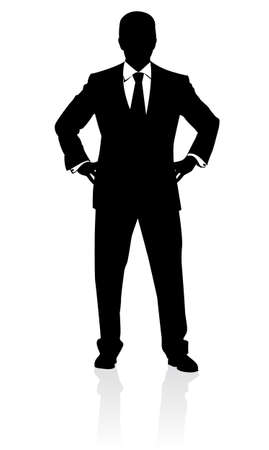 Illustration for Business man in suit and tie silhouette. Illustration on white - Royalty Free Image
