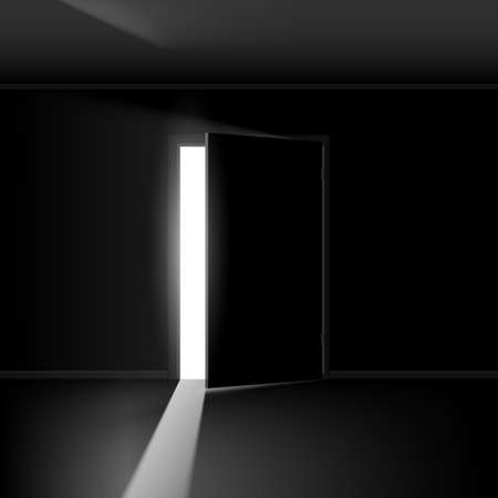 Illustration pour Open door with light. Illustration on empty background - image libre de droit