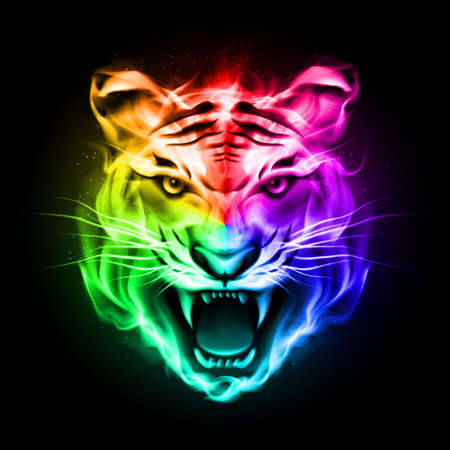Illustration for Head of tiger blazing in spectrum fire on black background. - Royalty Free Image