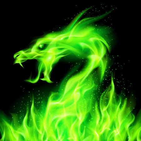 Ilustración de Fire head of dragon in green on black background.  - Imagen libre de derechos