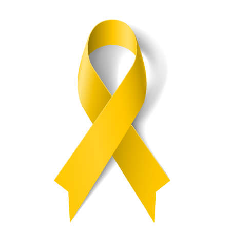 Illustration pour Yellow awareness ribbon on white background. Bone cancer and troops support symbol. - image libre de droit