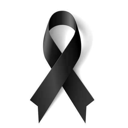Illustration pour Black awareness ribbon on white background. Mourning and melanoma symbol. - image libre de droit