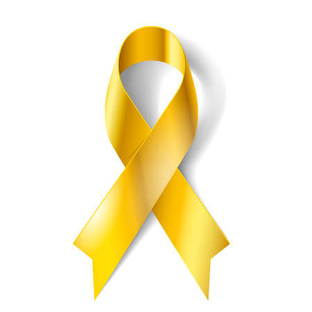 Illustration pour Gold ribbon as symbol of childhood cancer awareness - image libre de droit