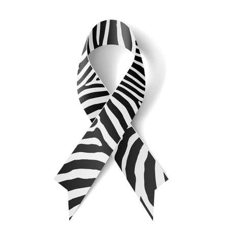 Illustration for Zebra-print ribbon as symbol of rare-disease awareness, Ehlers–Danlos syndrome  - Royalty Free Image