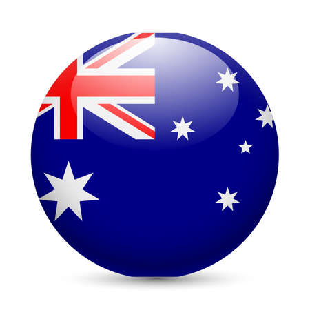 Illustration for Flag of Australia as round glossy icon. Button with Australian flag - Royalty Free Image