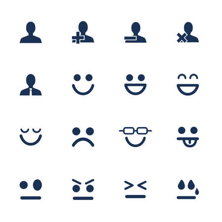 Illustration pour Set of flat icons for emotions and soial network communication - image libre de droit