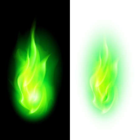 Illustration for Green fire flames over contrast black and white backgrounds - Royalty Free Image