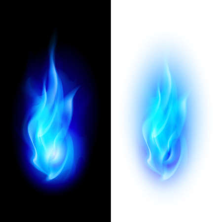 Ilustración de Blue fire flames over contrast black and white backgrounds - Imagen libre de derechos