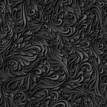 Illustration pour Illustration of seamless abstract black floral  vine pattern - image libre de droit