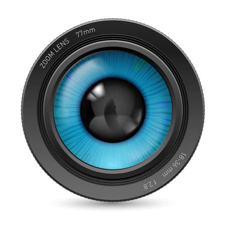 Illustration pour Camera lens isolated on white background. Illustration blue eye - image libre de droit