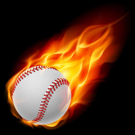Illustration for Baseball on fire. Illustration on black background - Royalty Free Image