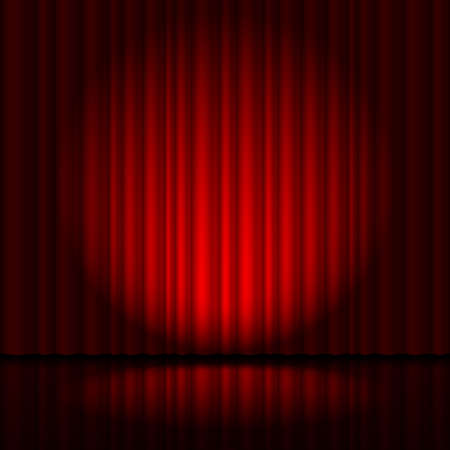 Illustration pour Red curtain from the theatre with a spotlight - image libre de droit