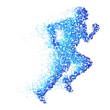 Foto de Running man with blue pieces isolated on white - Imagen libre de derechos