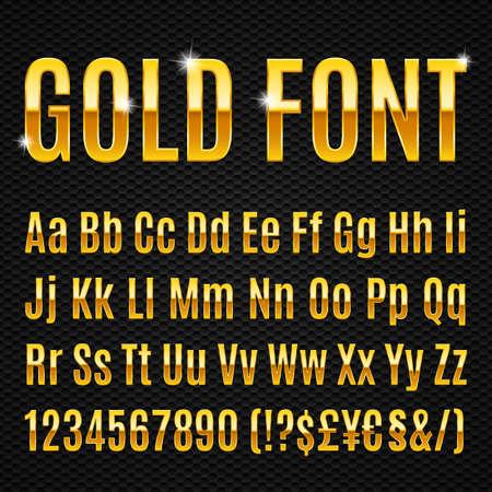 Illustration pour Golden alphabet letters numbers and signs currancy - image libre de droit
