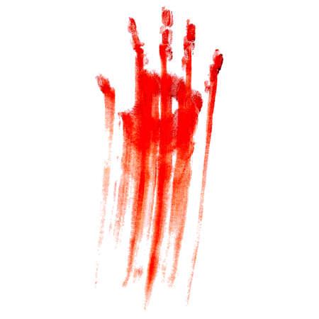 Ilustración de Red bloody hand print on a white background - Imagen libre de derechos