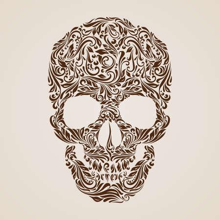 Ilustración de Floral pattern in the shape of a skull on a beige background. Day of the Dead - Imagen libre de derechos