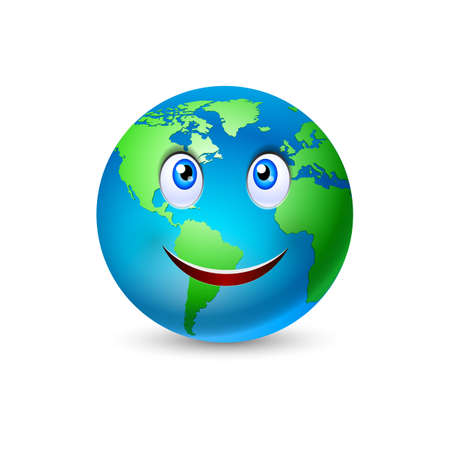 Illustration pour Illustration of the smiling planet Earth on white - image libre de droit