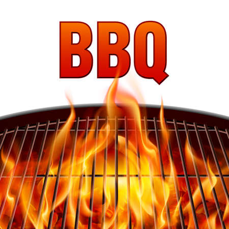 Illustration for Closeup BBQ grill fire on white background - Royalty Free Image