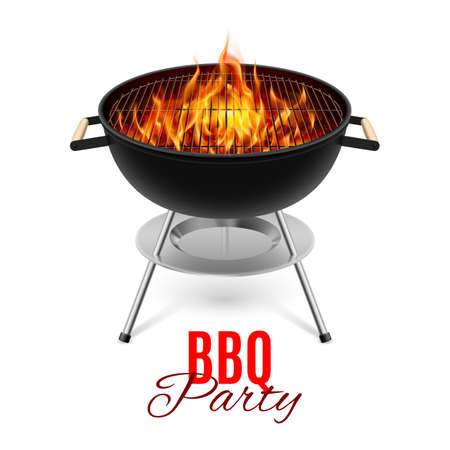 Illustration pour BBQ party banner grill with fire isolated on white - image libre de droit