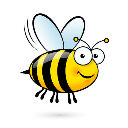 Illustrazione per Illustration of a Friendly Cute Bee Flying and Smiling - Immagini Royalty Free