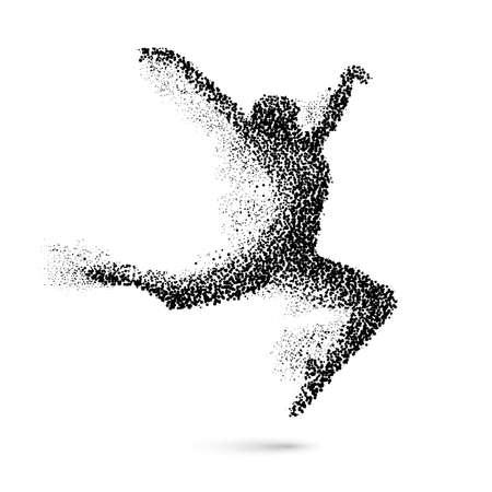 Illustration pour Dancing Woman in the Form of Black Particles on White - image libre de droit