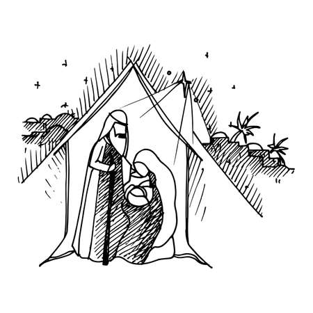 Illustration for Black Mono Color Illustration for Merry Christmas and Happy New Year Print Design. Christmas Nativity Religious Abstract Artistic Bethlehem Crib Scene on White Background - Royalty Free Image