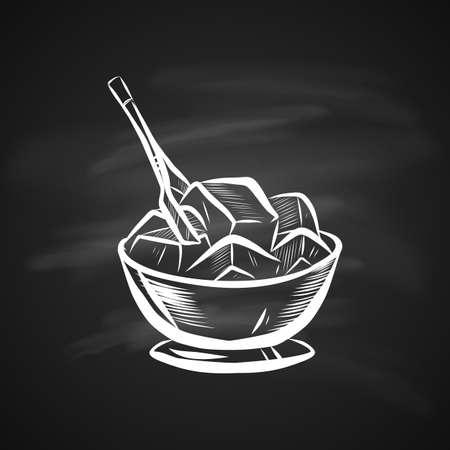 Illustration pour Sketch Illustration of Ice Bowl. Realistic Doodle Cartoon Style Hand Drawn Illustration on Chalkboard - image libre de droit