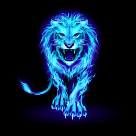 Ilustración de Abstract Illustration of Infuriated Lion with Blue Fire Flames Fur on Black - Imagen libre de derechos