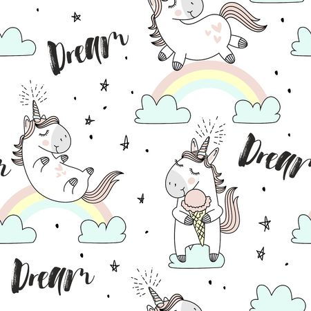 Illustration for A vector hand drawn pattern with cute Magic background of unicorns, clouds, rainbow and stars. - Royalty Free Image