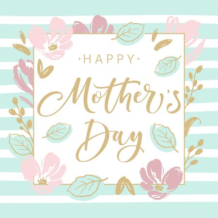 Illustration for Mothers day greeting card with blossom flowers and modern brush calligraphy - Royalty Free Image