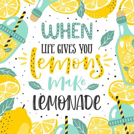 Ilustración de Hand drawn typography poster. Lemons with inscription When life gives you lemons make lemonade. - Imagen libre de derechos