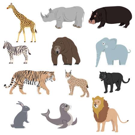 Illustration for Animals, set of animals. Rhinoceros, lion, panther, lynx, giraffe, bear, zebra. Flat design, vector illustration, vector. - Royalty Free Image