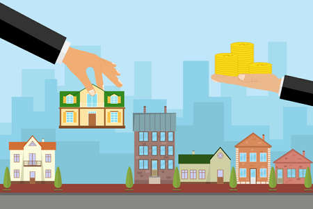 Illustration pour The agent sells the house in exchange for money, the hand holds the house and the other keeps the money. Flat design, vector illustration, vector. - image libre de droit