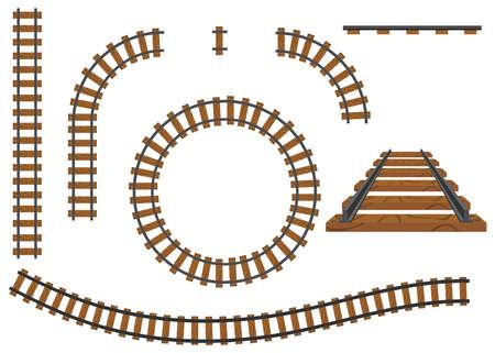 Illustration pour Railway, a set of railroad tracks. Rails and sleepers. Flat design, vector illustration, vector. - image libre de droit