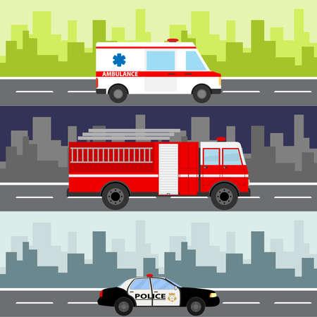 Illustration pour An ambulance, a fire truck, a police car on a city landscape background. - image libre de droit