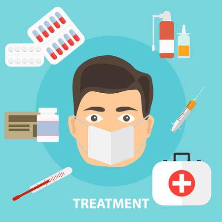 Ilustración de Treatment of the disease, the concept of treating the patient. Medicated treatment. Flat design, vector illustration, vector. - Imagen libre de derechos