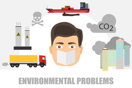 Illustration pour Man in the mask protected from the contaminated environment. - image libre de droit