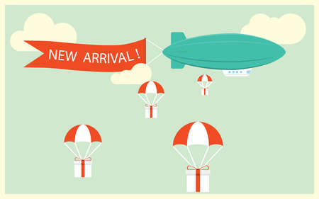Illustration pour Retro styled airship with the ribbon and text new arrival and gifts for potential customers. Cool set of vector helium ad blimp airship. Modern flat concept design on flying airship with the ribbon. - image libre de droit