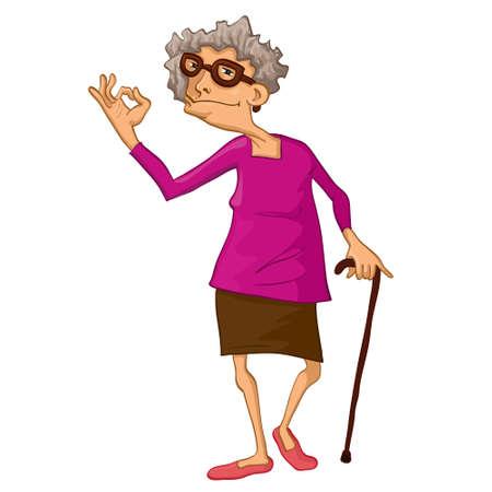 Illustration pour This illustration depicts an old woman - image libre de droit