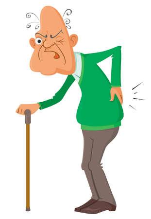 Illustration pour elderly man suffering from a  pain, vector illustration - image libre de droit