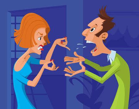 Ilustración de Couple yelling at each other in argument - Imagen libre de derechos