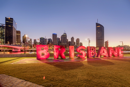 Photo for Letters sign in Brisbane, South Bank Parkland, Australia - Royalty Free Image